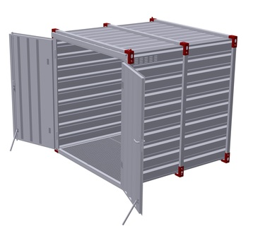 Container 2,25 m with bunded floor with 2 pairs of air grilles - double-wing door in front side 3