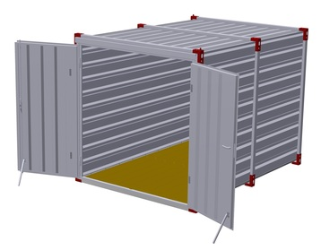 Container 3 m – double-wing door in front side 3