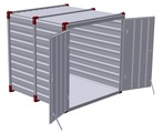 Container 3 m with hot galvanized steel floor - double-wing door in front side 2