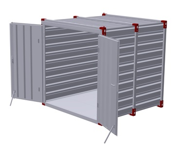 Container 3 m with hot galvanized steel floor - double-wing door in front side¨3