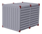 Container 3 m with bunded floor with 2 pairs of air grilles - double-wing door in front side 1