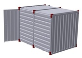 Container 3 m with bunded floor with 2 pairs of air grilles - double-wing door in front side 2