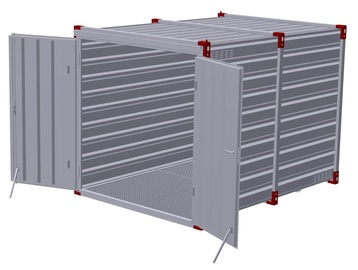 Container 3 m with bunded floor with 2 pairs of air grilles - double-wing door in front side 3