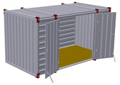 Container 4 m – double-wing door in side wall 2