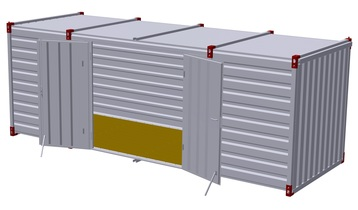 Container 6 m – double-wing door in side wall 3