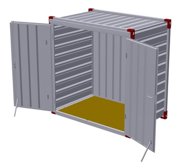 Container 1375 x 2200 mm with wooden floor - double-wing door in front side 1