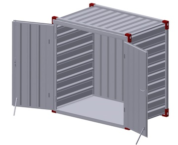 Container 1375 x 2200 mm with steel floor - double-wing door in front side