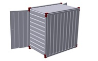 Container 1375 x 2200 mm with steel floor - double-wing door in front side 2